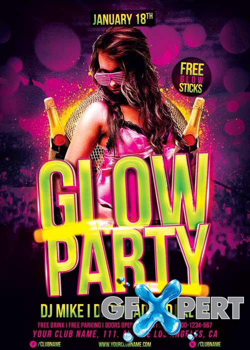 Glow Party V15 Flyer Template