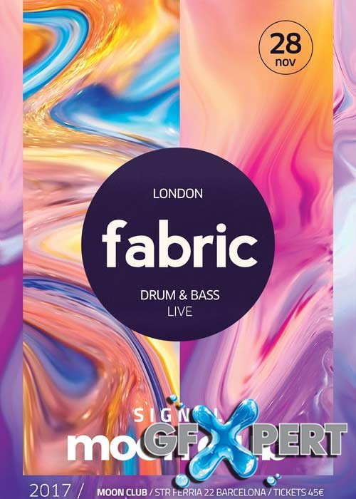 Electro Fabric Club V14 Party Flyer and Poster Template