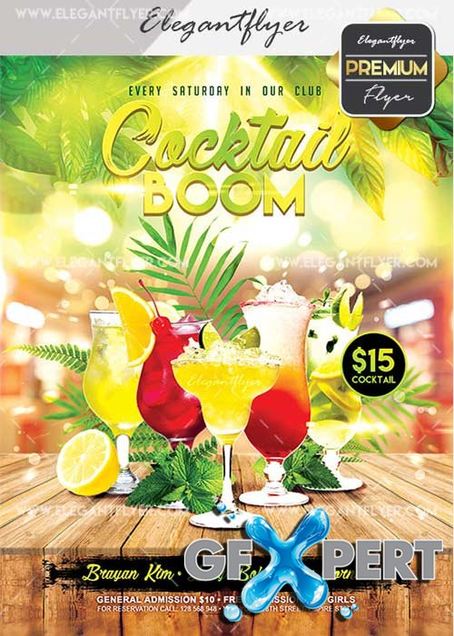 Cocktail Boom V25 Flyer PSD Template + Facebook Cover