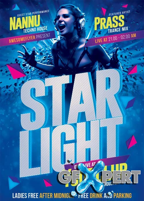 Starlight DJ Party V18 Flyer Template