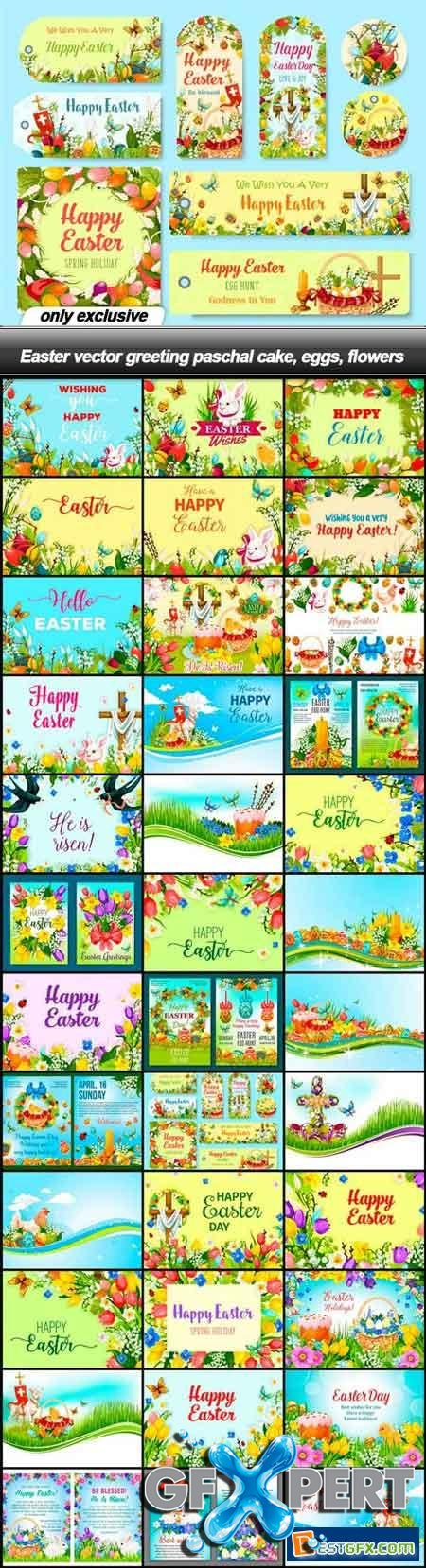 Easter vector greeting paschal cake, eggs, flowers - 38 EPS