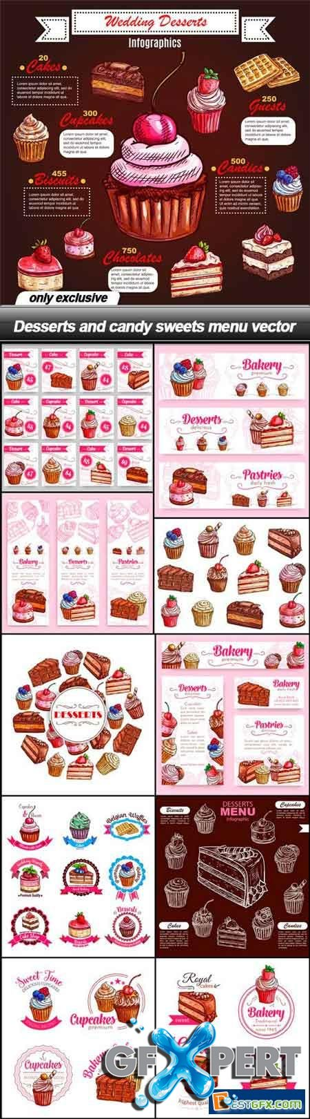Desserts and candy sweets menu vector - 11 EPS