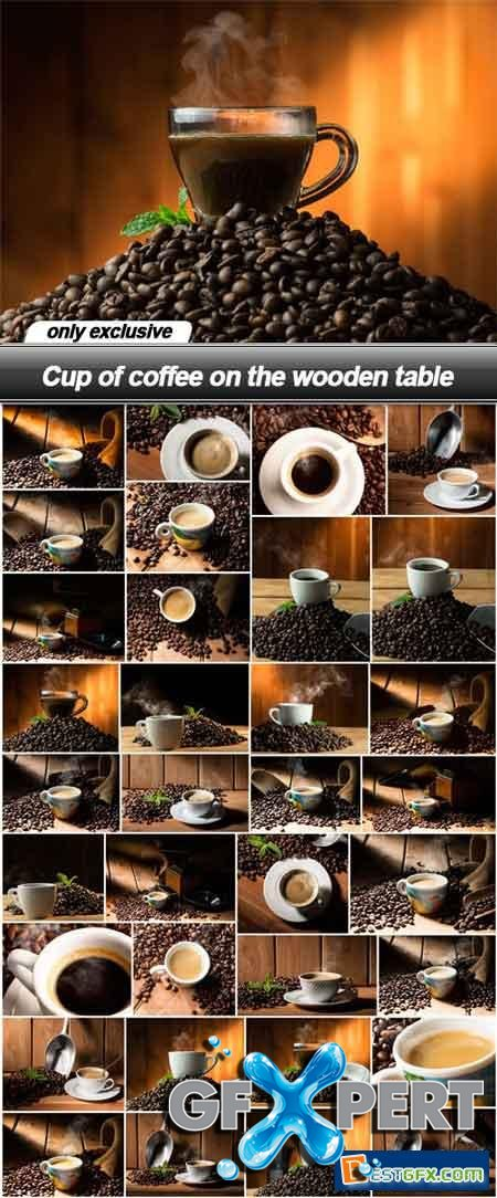 Cup of coffee on the wooden table - 34 UHQ JPEG