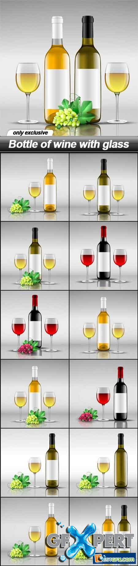 Bottle of wine with glass - 13 EPS