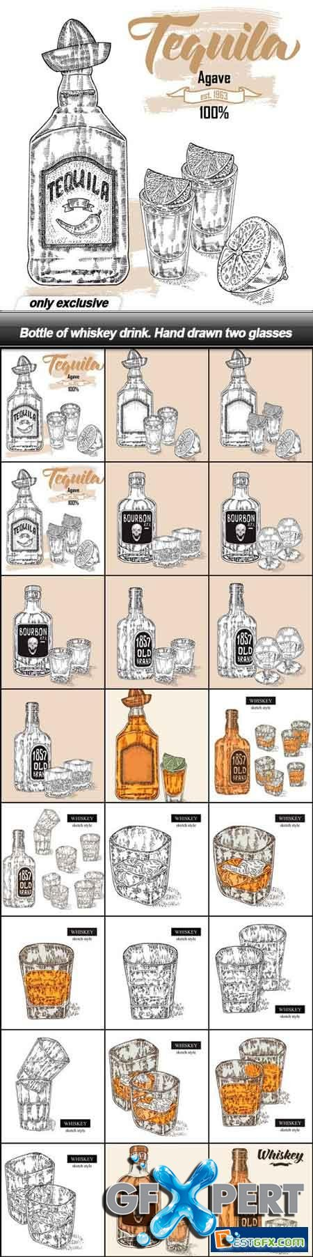 Bottle of whiskey drink. Hand drawn two glasses - 24 EPS