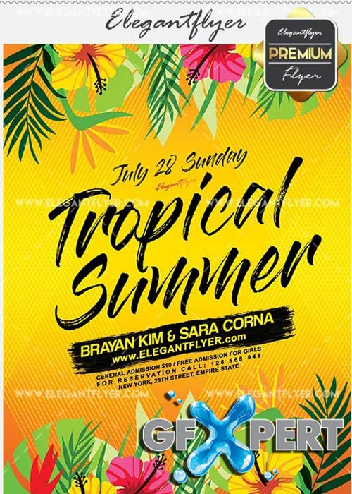 Tropical Summer V28 Flyer PSD Template + Facebook Cover