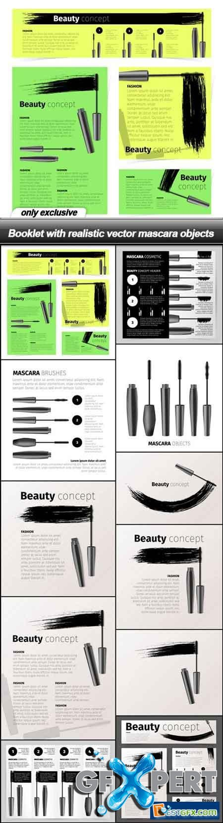 Booklet with realistic vector mascara objects - 11 EPS