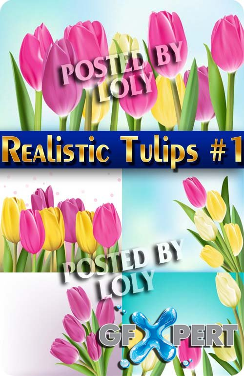 Realistic Tulips #1 - Stock Vector