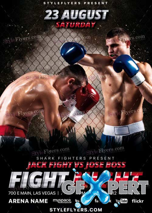 Fight Night V36 PSD Flyer