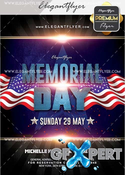 Memorial Day V33 Flyer PSD Template + Facebook Cover