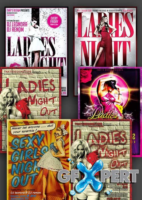 Ladies Night 5in1 V1 PSD Flyer Template