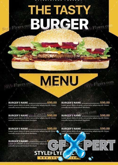 Burger Menu V25 PSD Flyer Template