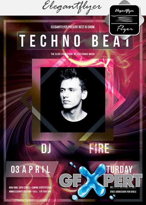 Techno Beat V17 Flyer PSD Template + Facebook Cover