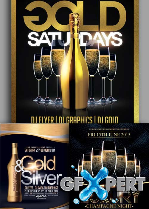 Gold Party 3in1 V1 Flyer Template