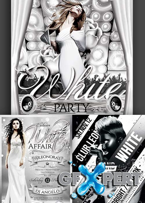 Black and White Party 3in1 V1 Flyer Template