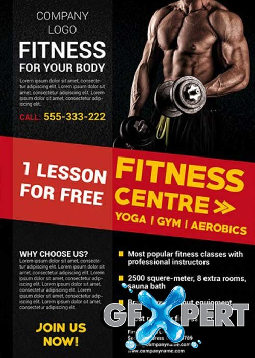 Fitness Gym V19 Business Flyer Template + Facebook cover