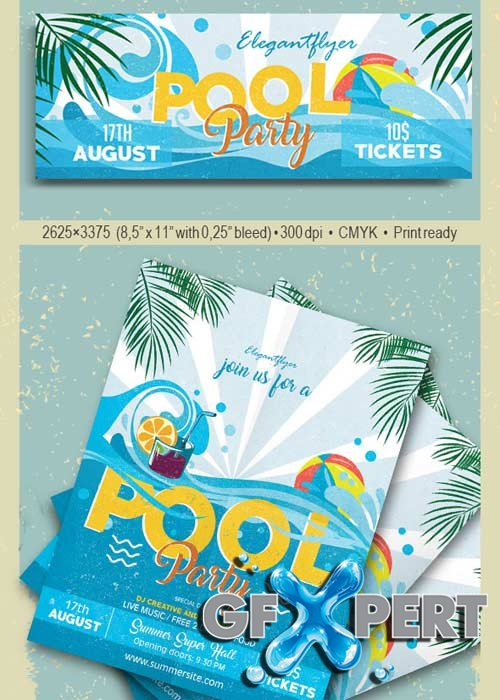 Pool Party V26 Flyer PSD Template + Facebook Cover