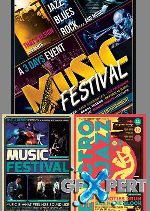 Music Festival 3in1 V2 Flyer Template