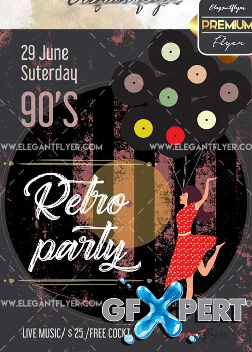 Retro Party V29 Flyer PSD Template + Facebook Cover