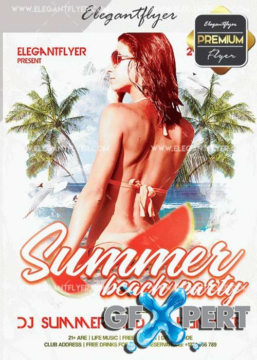 Summer Beach Party V39 Flyer PSD Template + Facebook Cover