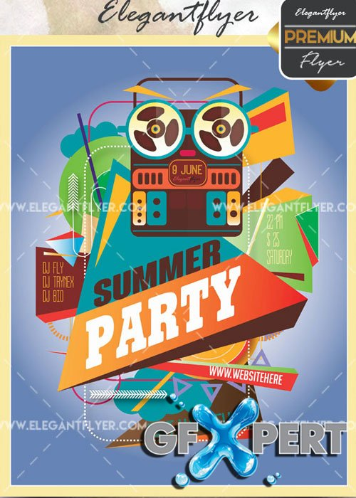 Summer Party V40 Flyer PSD Template + Facebook Cover
