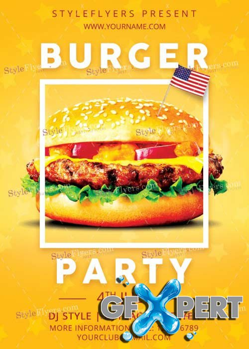 Burger Independence Party V5 PSD Flyer Template