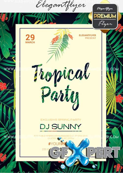 Tropical Party V29 Flyer PSD Template + Facebook Cover