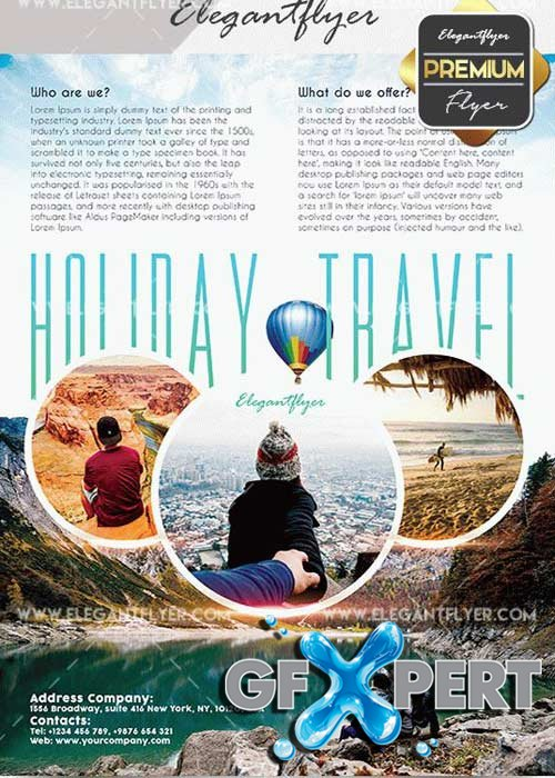Holiday Travel V24 Flyer PSD Template + Facebook Cover