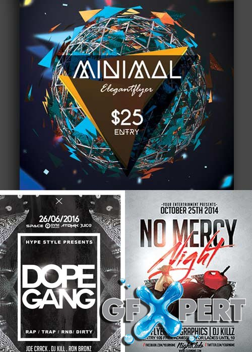 Minimal Party 3in1 V10 Flyer Template