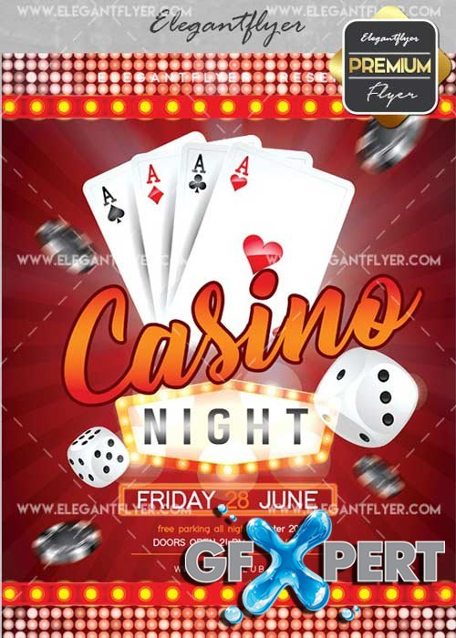 Free Casino Night V26 Flyer Psd Template Facebook Cover Download