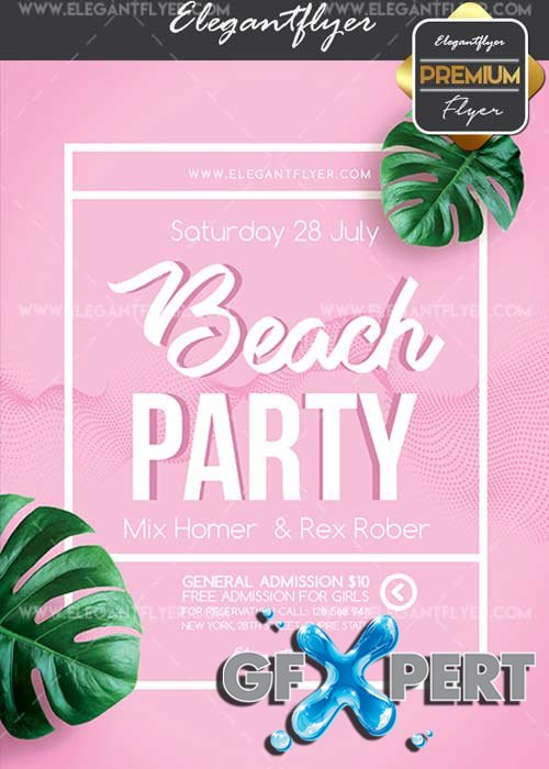 Beach Party V33 Flyer PSD Template + Facebook Cover