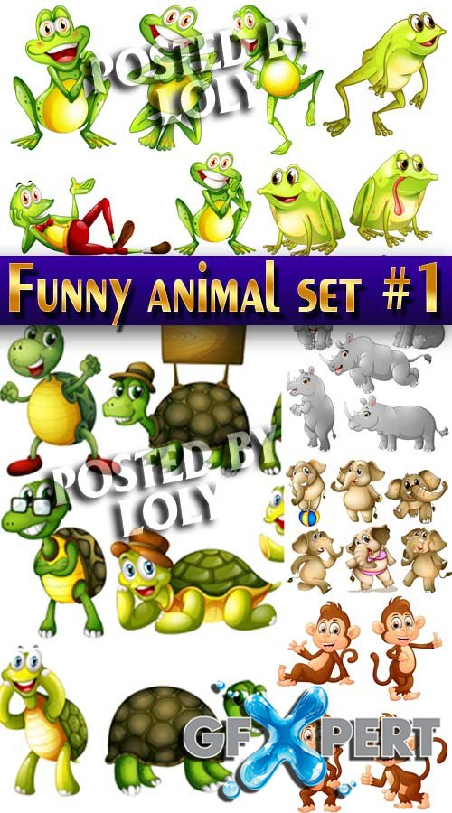 Funny animal set #1 - Stock Vector