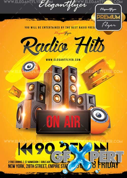 Radio Hits V21 Flyer PSD Template + Facebook Cover