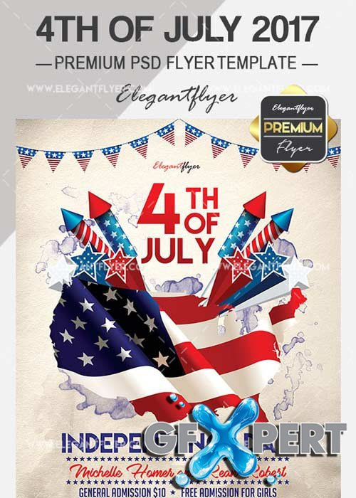 4th of July 2017 Flyer PSD V14 Template + Facebook Cover