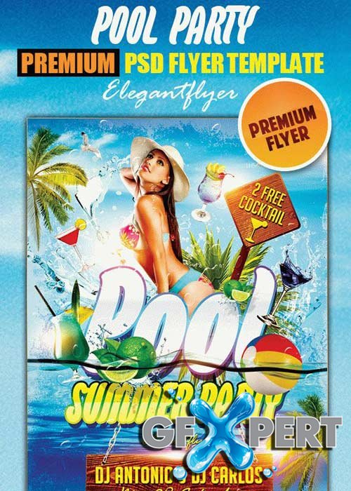 Pool Party Flyer PSD V7 Template + Facebook Cover