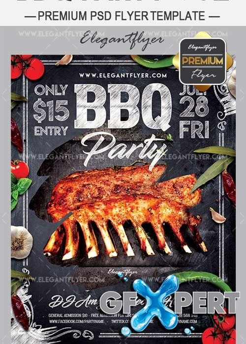 BBQ Party V02 Flyer PSD Template + Facebook Cover