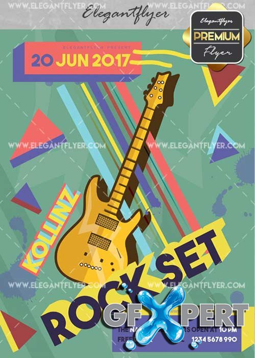 Rock Set V20 Flyer PSD Template + Facebook Cover