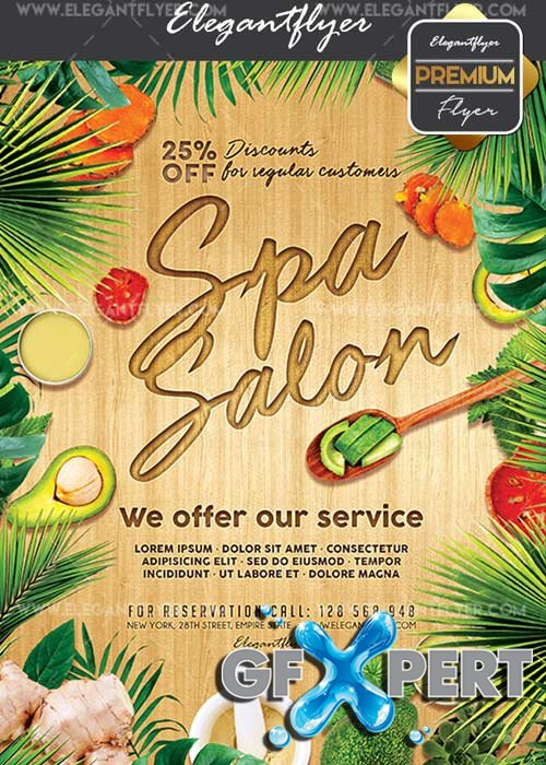 Spa Salon V25 Flyer PSD Template + Facebook Cover