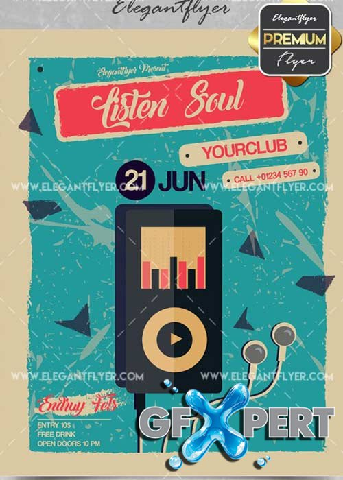 Listen Soul V11 Flyer PSD Template + Facebook Cover