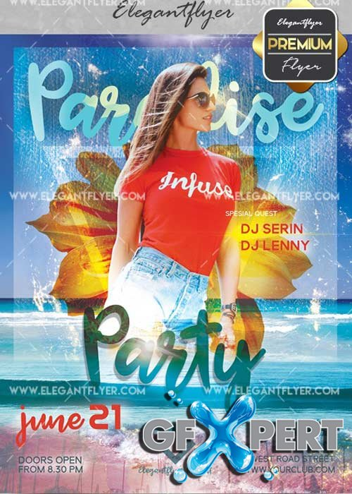 Paradise Party V27 Flyer PSD Template + Facebook Cover