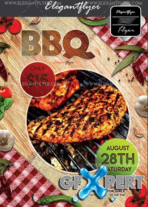 BBQ V42 Flyer PSD Template + Facebook Cover