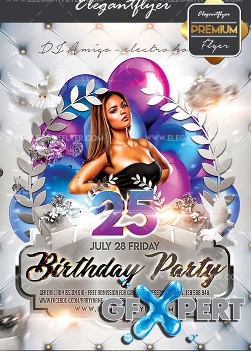 Birthday Party V33 Flyer PSD Template + Facebook Cover