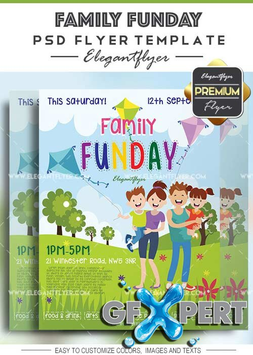 Family Funday V15 Flyer PSD Template + Facebook Cover