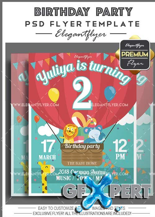 Birthday Party Flyer PSD V7 Template + Facebook Cover