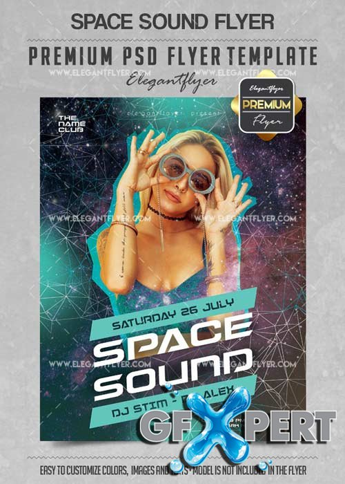 Space Sound Flyer PSD V14 Template + Facebook Cover