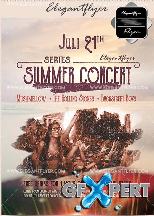 Summer Concert V22 Flyer PSD Template + Facebook Cover
