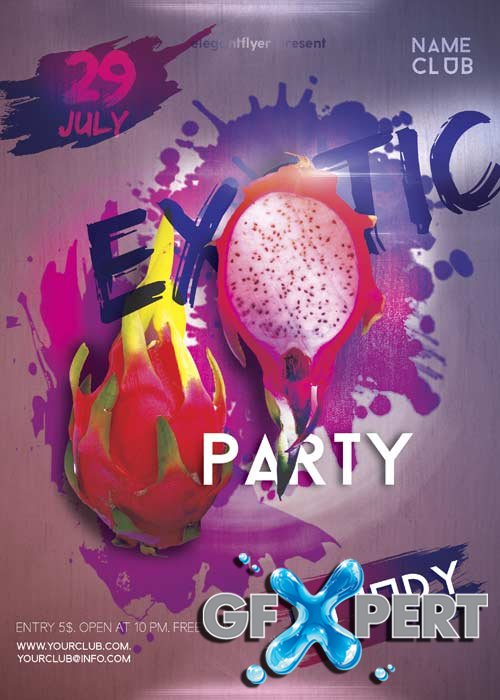 Exotic Party V12 Flyer PSD Template + Facebook Cover