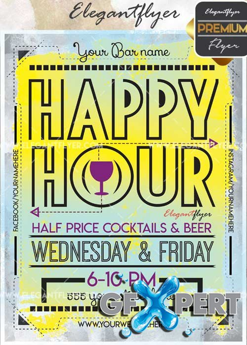 Happy Hour V41 Flyer PSD Template + Facebook Cover