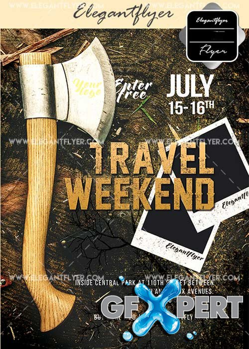 Travel Weekend V1 Flyer PSD Template + Facebook Cover