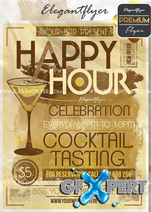 Happy Hour V43 Flyer PSD Template + Facebook Cover